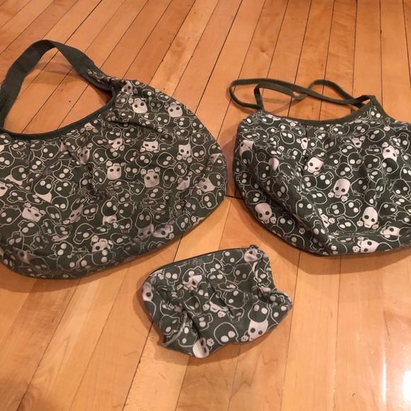 Yak Pak Handbags - Set of 3 - skull pattern bags